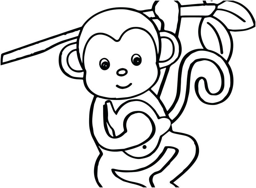 827x609 Baby Monkey Coloring Pages Coloring Pages For Monkey New Baby