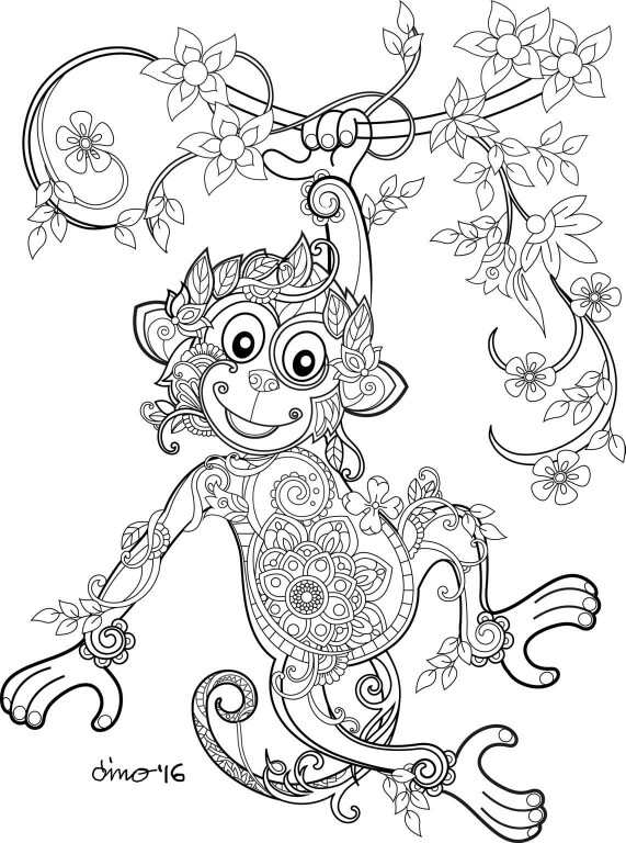 571x768 Monkey Coloring Pages Monkey, Adult Coloring