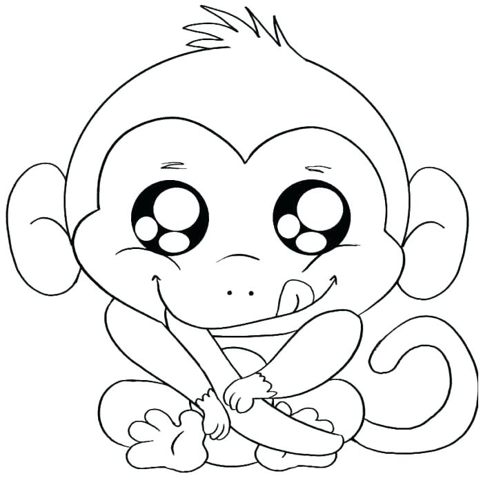 700x693 Monkey Coloring Pages Adults Difficult Animals Cute Monkey Free