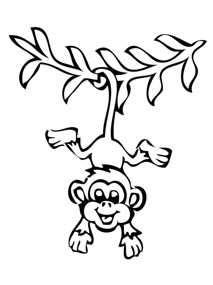 750x1000 Monkey Coloring Pages Monkey Coloring Books Monkey Animal Coloring