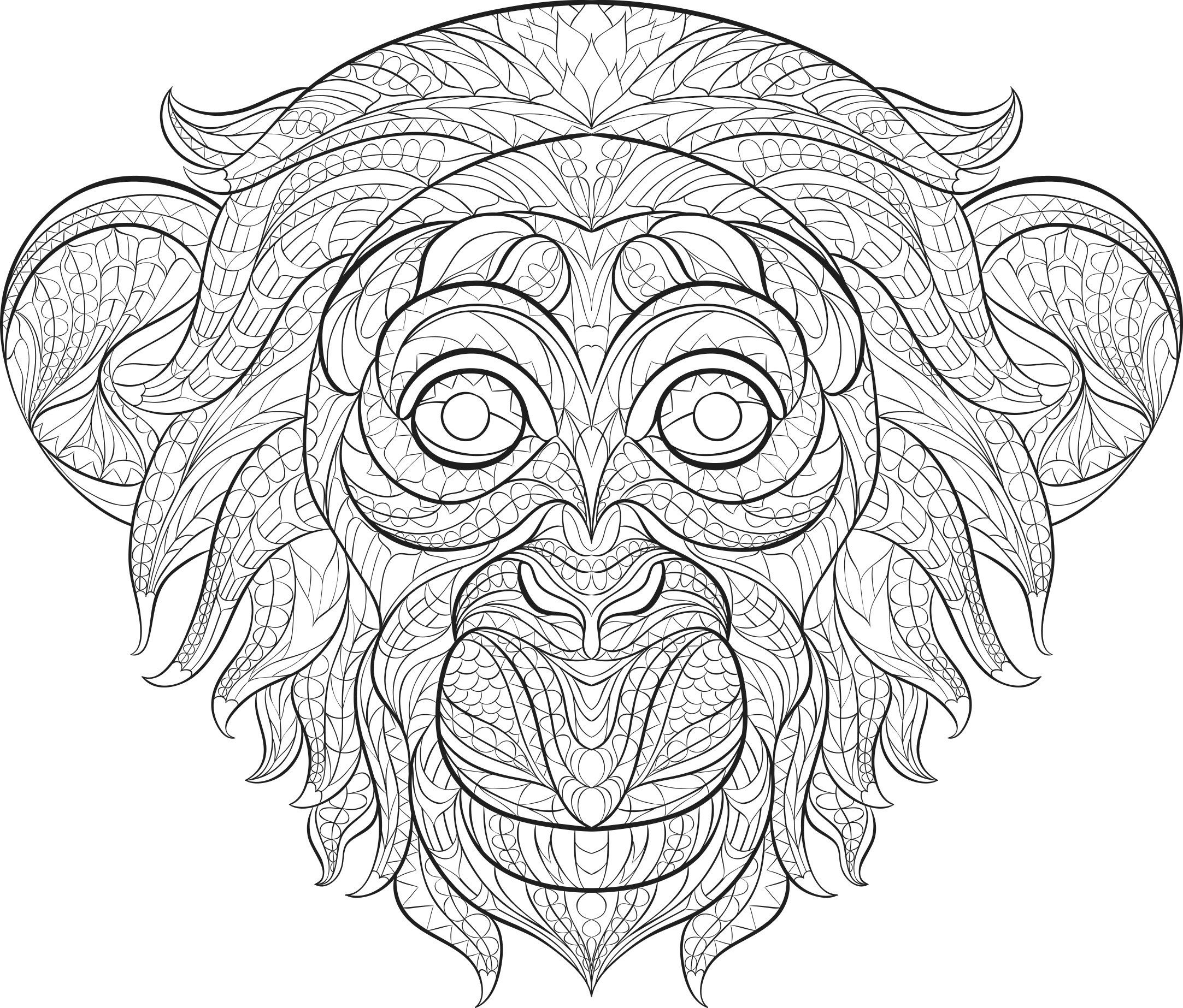 2165x1846 Stress Less Animals Adams Media Monkey Color Me Fun