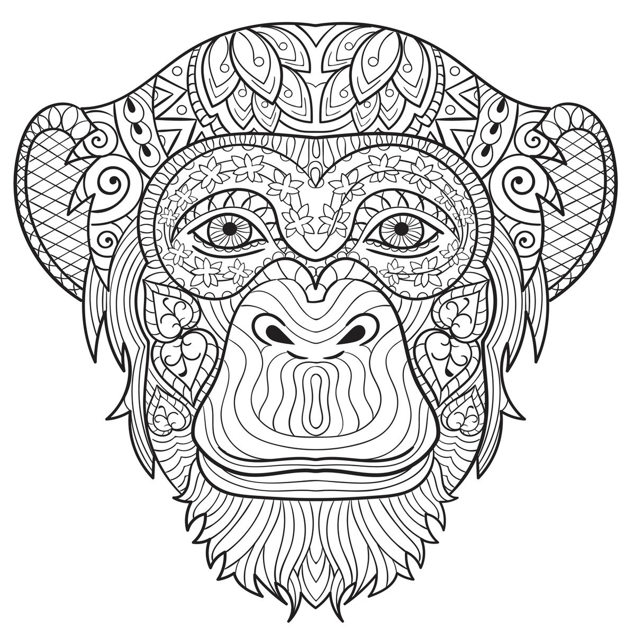 1280x1280 Monkey Colouring Pages For Adults Printable To Good Coloring Image