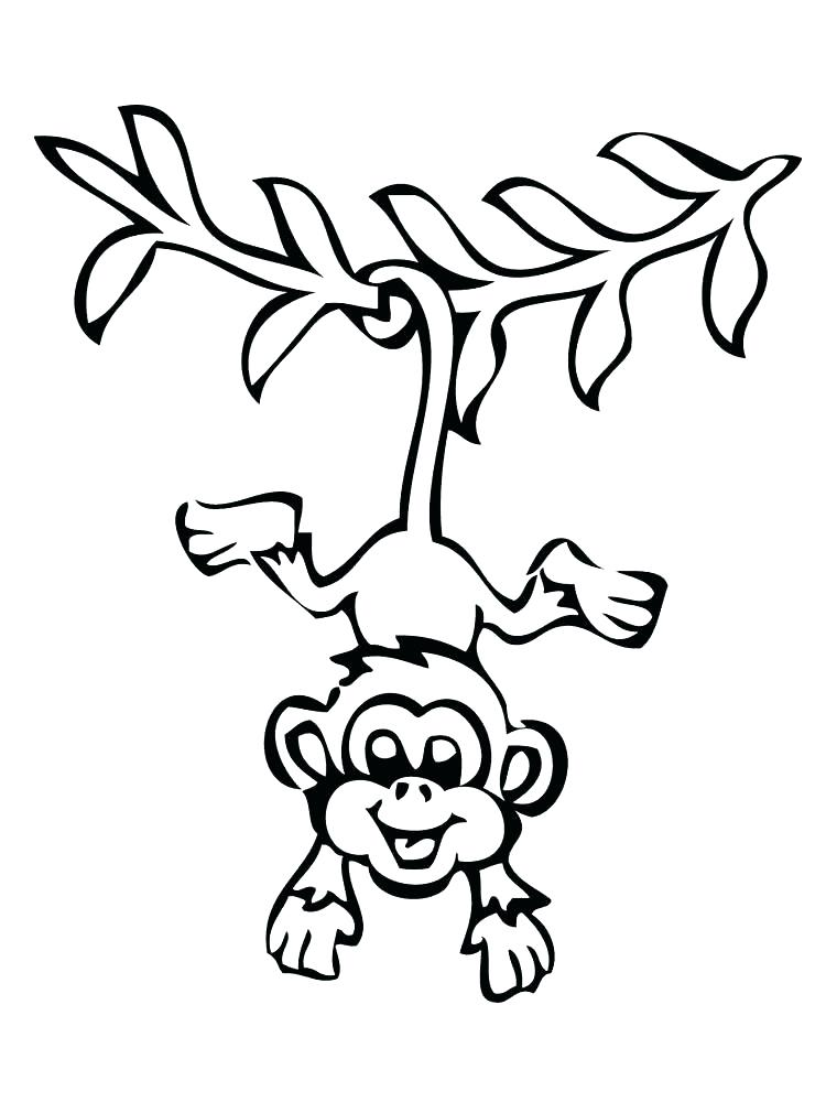 750x1000 Monkey Coloring Pages Printable Baby Monkey Coloring Pages