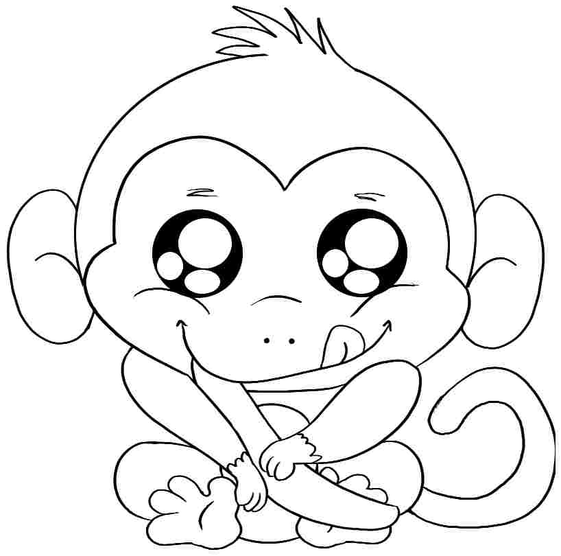 818x810 Baby Monkey Coloring Pages Printable