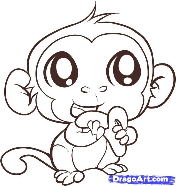 614x648 Baby Girl Monkey Coloring Pages Printable In Cure Draw Image