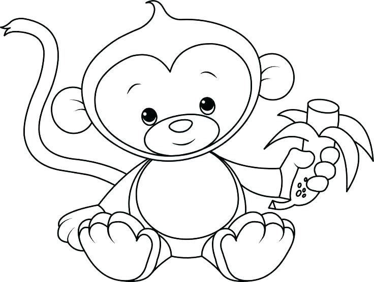 736x556 Monkey Coloring Pages Printable Baby Monkey Coloring Pages