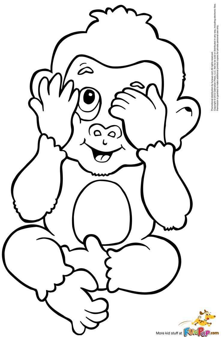 736x1123 Baby Monkey Coloring Pages Printable In Pretty Page Image