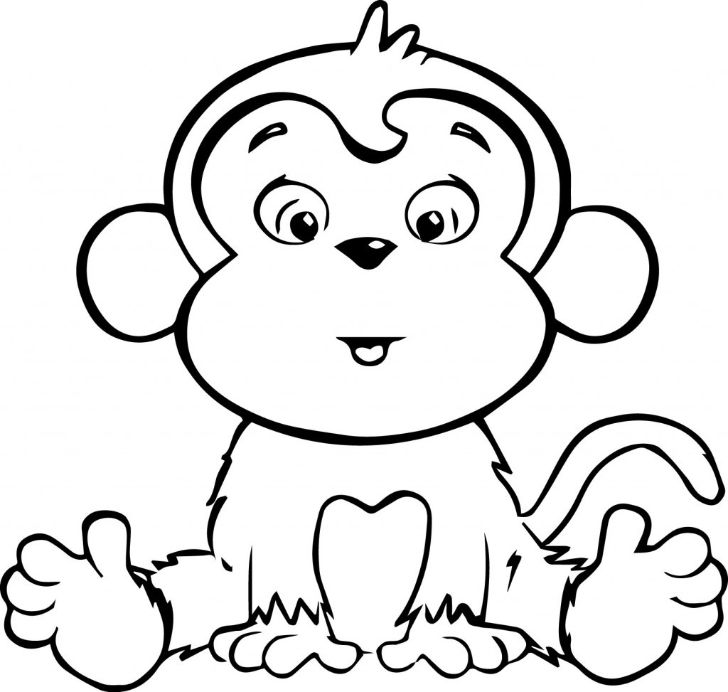 1024x973 Baby Monkey Coloring Pages Printable Throughout Amazing Cute