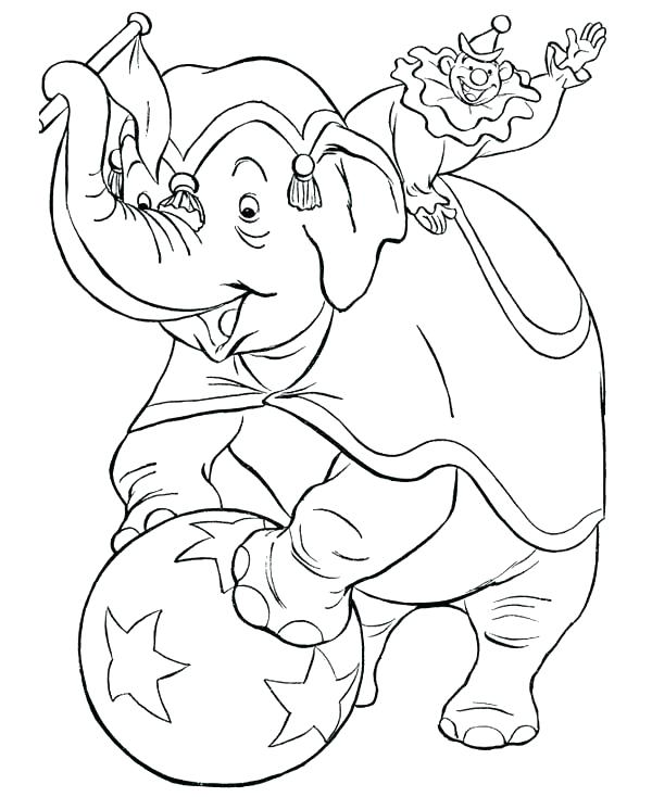 600x734 Face Coloring Pages Clown Coloring Pages Circus Elephant
