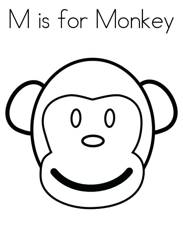 600x776 Monkey Coloring Pages Monkey Face Coloring Page Monkey Coloring