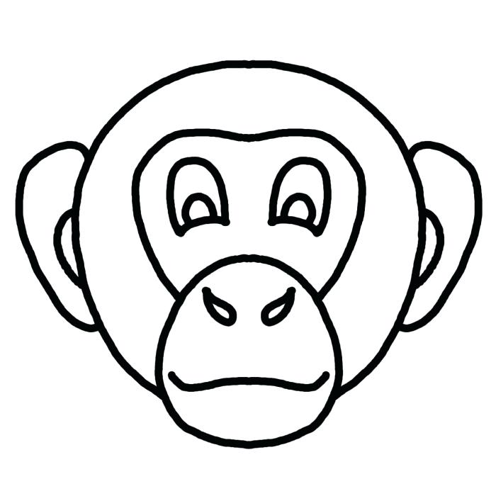 700x700 Monkey Face Coloring Page Monkey For Coloring Coloring Book Monkey