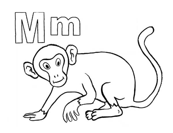 600x462 M Letter For Mr Monkey Coloring Page