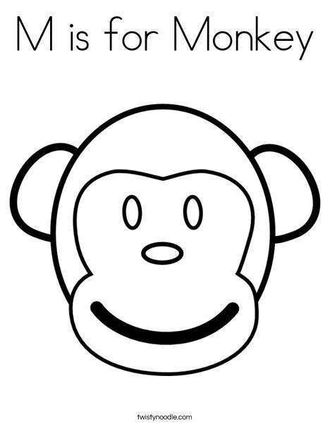468x605 M Is For Monkey Coloring Page