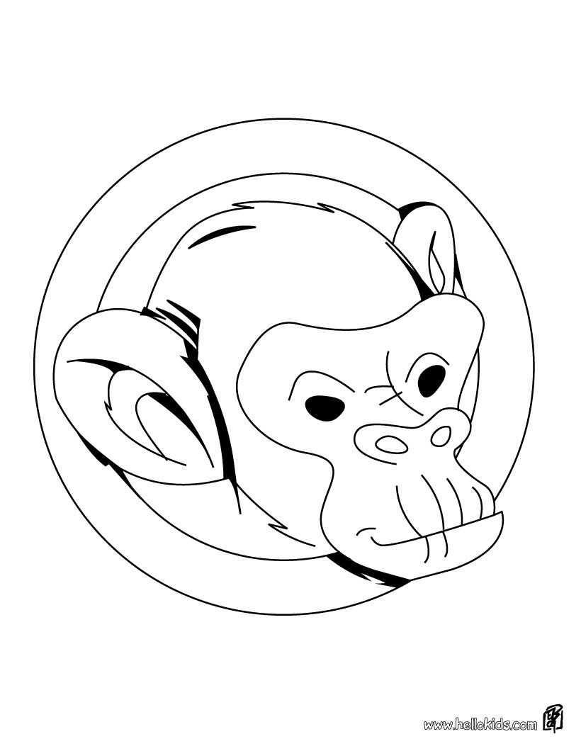 820x1060 Monkey's Head Coloring Sheet More Jungle Animals Coloring Pages