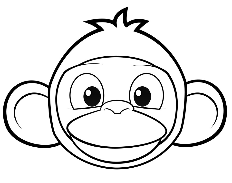 952x750 Monkey Face Coloring Page