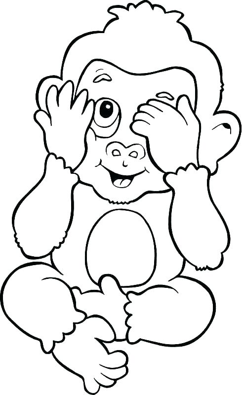 490x800 Monkey Coloring Pages Printable Baby Monkey Coloring Pages