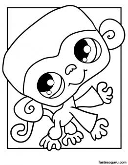 262x338 Printable Littlest Pet Shop Coloring Page Monkey