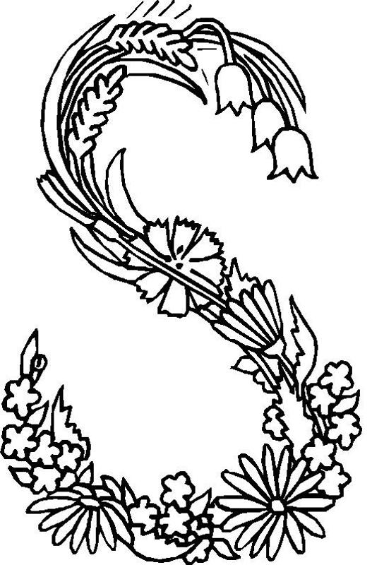 527x800 Flower Coloring Pages Alphabet S