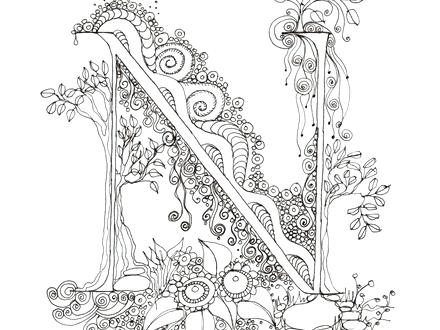 440x330 Illuminated Letters Coloring Pages Monogram Nitial Colour Me