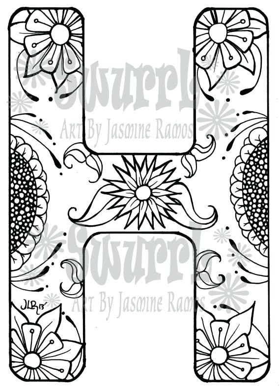 570x793 Instant Download Coloring Page Monogram Letter H
