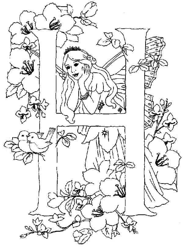 600x819 Letter H Alphabet Fairy Is Missing Someone Coloring Pages Ba