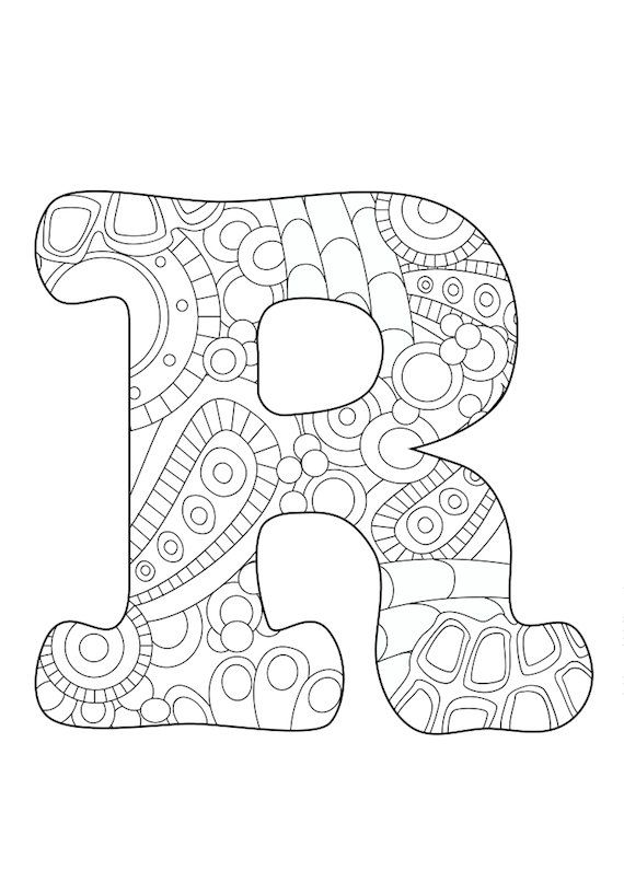570x806 Letter R, Adult, Coloring Page, Colored Pencils, Monogram, Initial