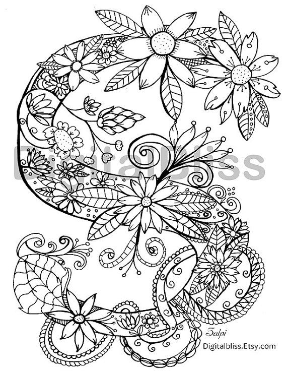 570x738 Adult Coloring Page Instant Download Monogram Floral S Coloring