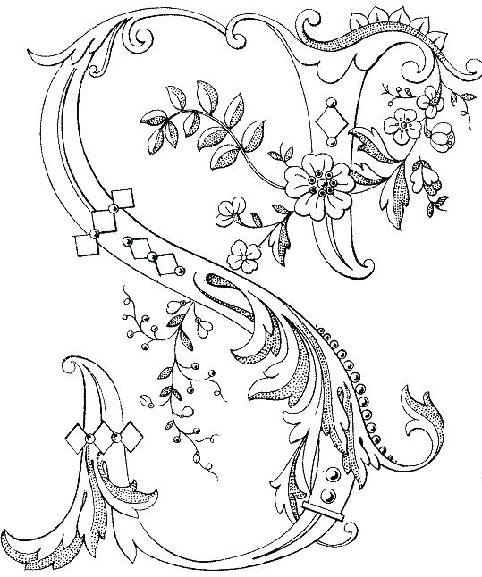 539x646 Illuminated Letters Coloring Pages