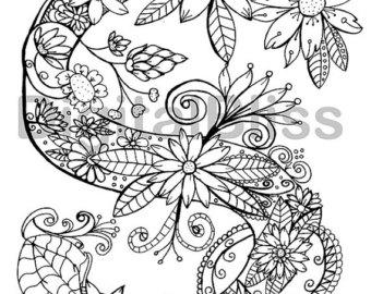 340x270 Doodle Adult Coloring Printable Coloring Pages Zen Art Floral