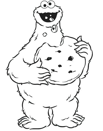 412x520 Cookie Monster Coloring Page