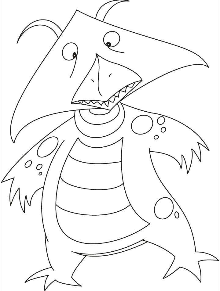 720x954 Monster Face Coloring Pages