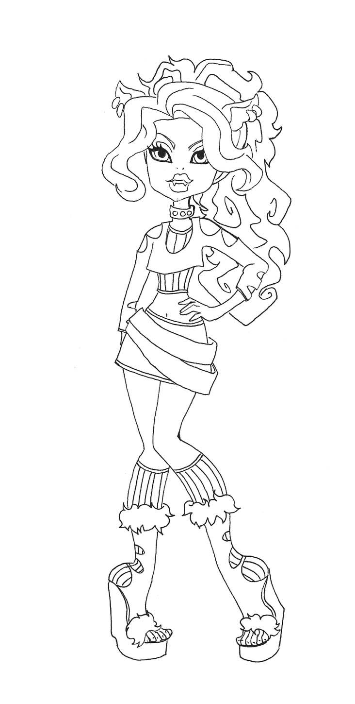 732x1449 Style Of Monster Clawdeen Wolf Coloring Pages Coloring Pages