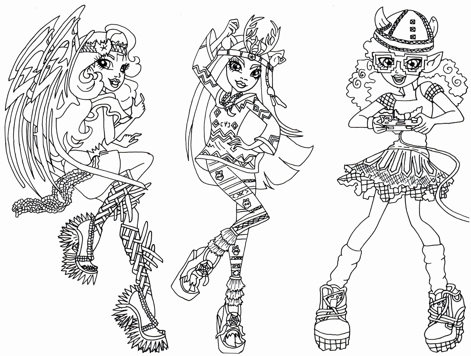 1600x1211 Monster High Cleo De Nile Monster High Catty Noir Coloring Pages