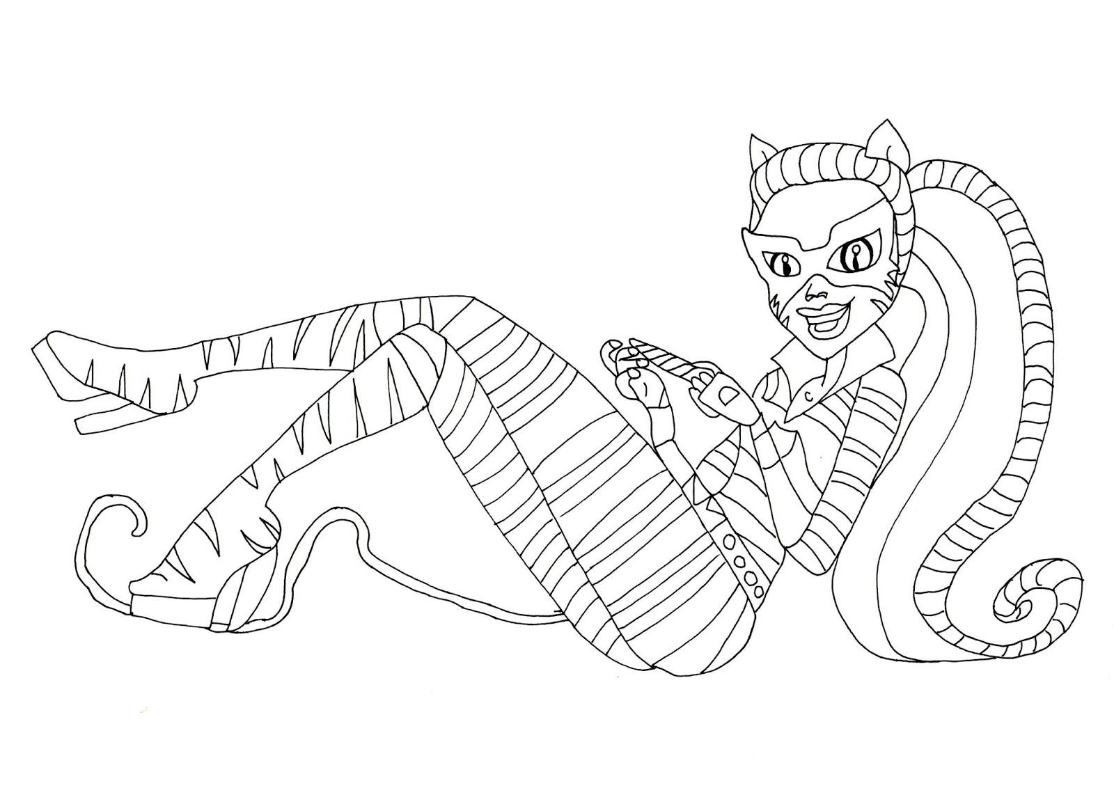 1600x1132 Stunning For Monster High Clawdeen Of Cat Coloring Page Style