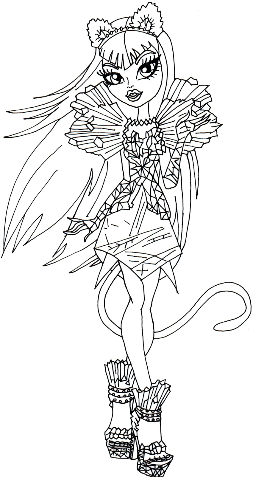 850x1600 Catty Noir Boo York Monster High Coloring Page