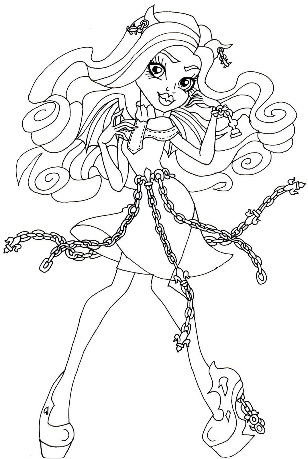 1075x1600 Free Printable Monster High Coloring Pages Rochelle Goyle Haunted