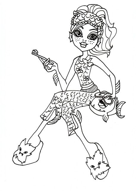 458x640 Monster High Pets Coloring Pages Lagoona Blue Free Printable
