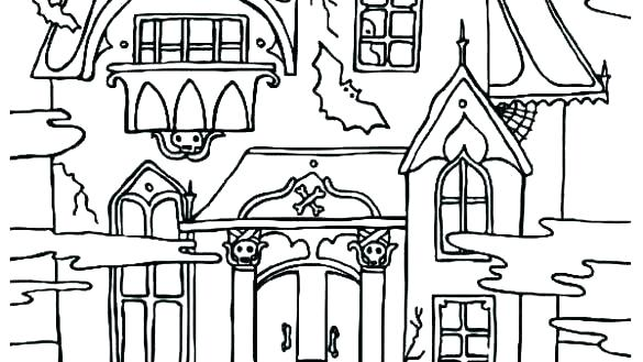585x329 Haunted House Coloring Pages Haunted House Coloring Page Monster
