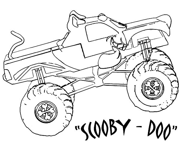 600x480 Monster Jam Scooby Doo Monster Truck Coloring Pages Color Luna