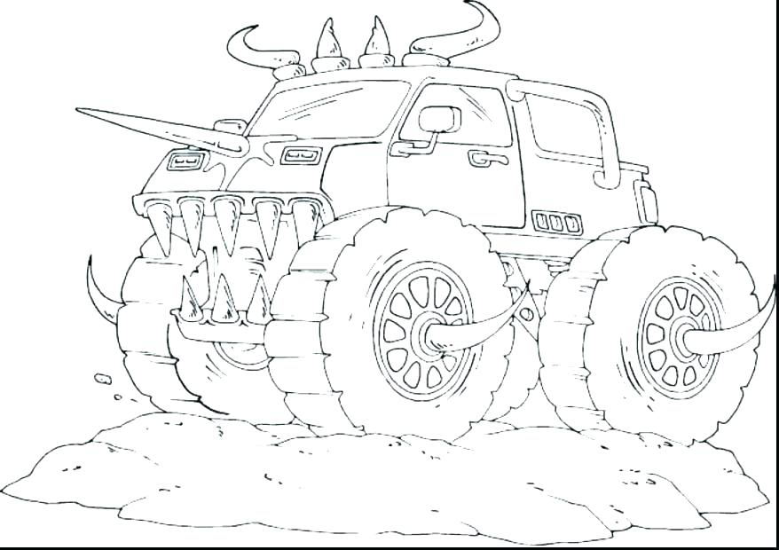 878x620 Monster Truck Coloring Page Cool Truck Coloring Pages Monster Jam