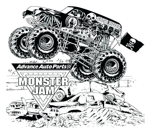 600x527 Monster Truck Printable Coloring Pages Monster Truck Coloring