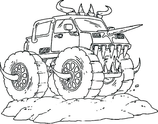600x473 Monster Truck Printable Coloring Pages Monster Trucks Coloring