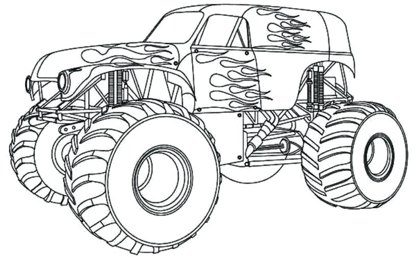816x520 Drawing Monster Truck Coloring Pages With Kids Monster Trucks