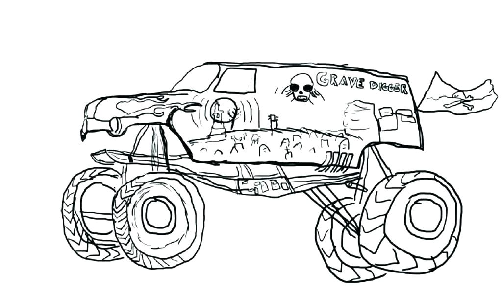 1024x603 Monster Truck Coloring Pages Plus Easy Monster Truck Monster Truck