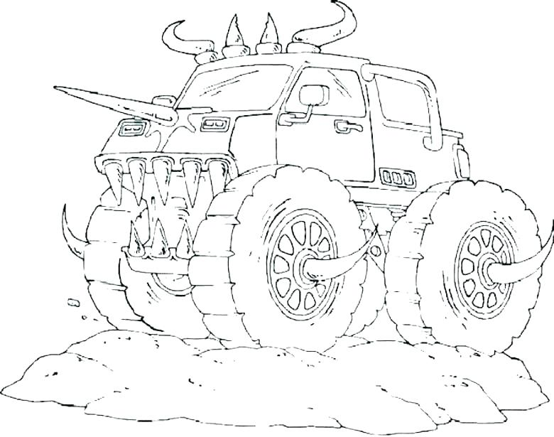 780x615 Monster Truck Coloring Page Monster Jam Coloring Pages Grave