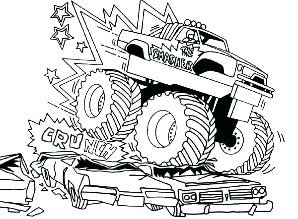 1024x754 Monster Truck Coloring Pages Free Printables Farmacina Monster Jam