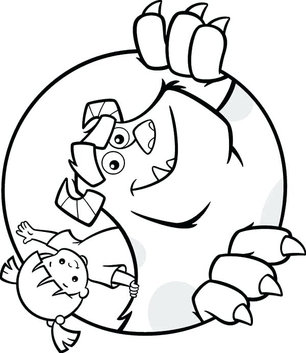 600x691 Coloring Page Monsters Inc Boo Coloring Pages Coloring Page Home