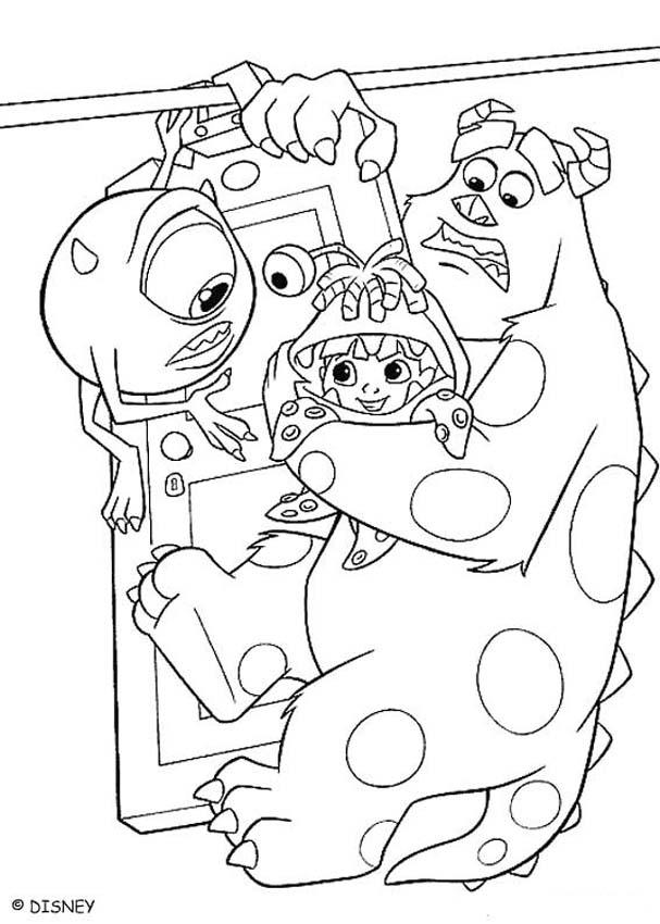 607x850 Mike, Sulley And Boo Coloring Pages