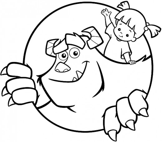 520x454 Sully And Boo Monsters Inc Coloring Pages