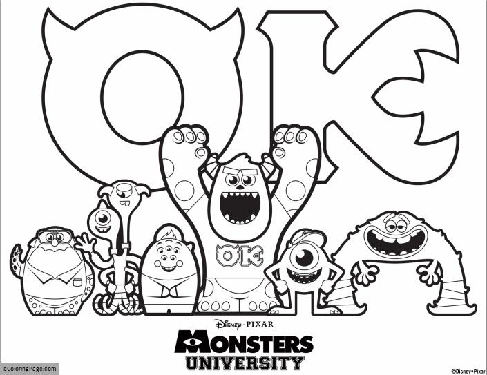 705x543 Monsters Inc University Coloring Pages